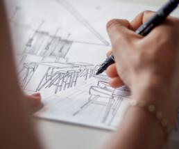 Pin tehnički flomaster s arhitektom