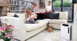 procišćivač zraka AeraMax u obiteljskom domu s bebom i psom